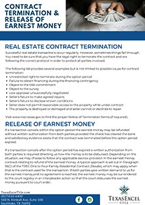 Contract Termination and Release of Earnest Money