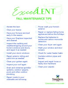 Excellent Fall Maintenance Tips